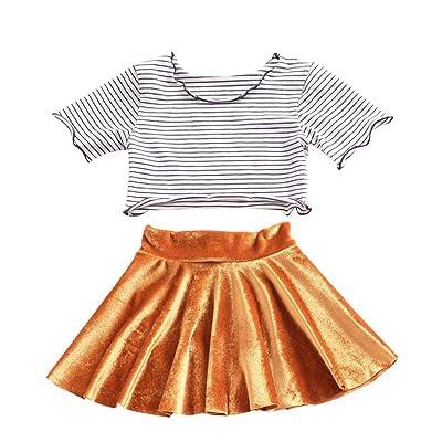 ❤️Robe de Filles , Amlaiworld Enfants filles Ensemble de vêtements T-shirt Imprimé Stripe Tops + Jupe Pour 0 -24 Mois Fille
