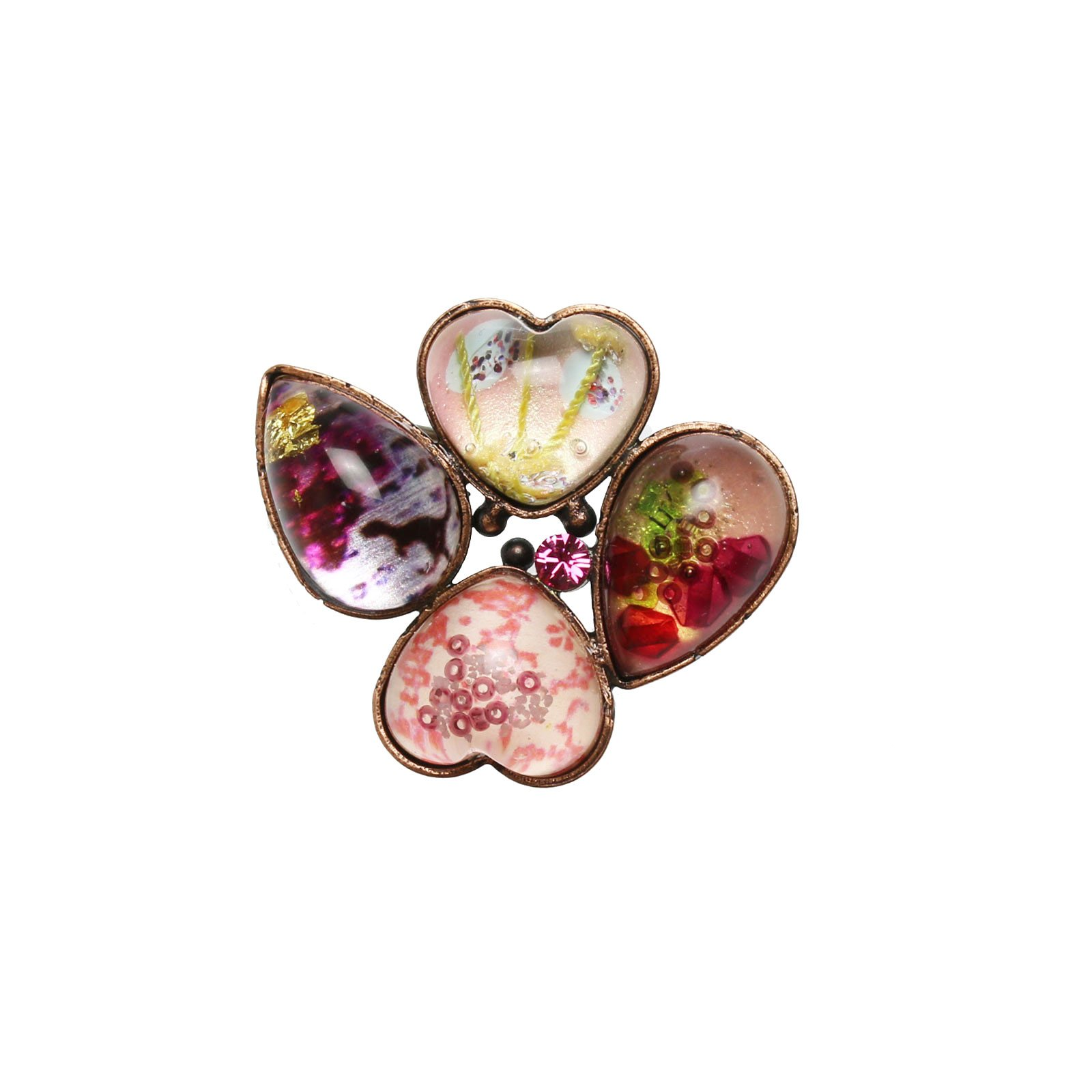Tamarusan Brooch Flower Pink Heart Brooch Dinosaur Pollen Nickel Free