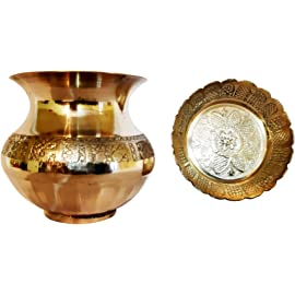Santosh Bhakti Bhandaar Brass Puja Lota Kalash Drink Ware (Height: 3-inch)