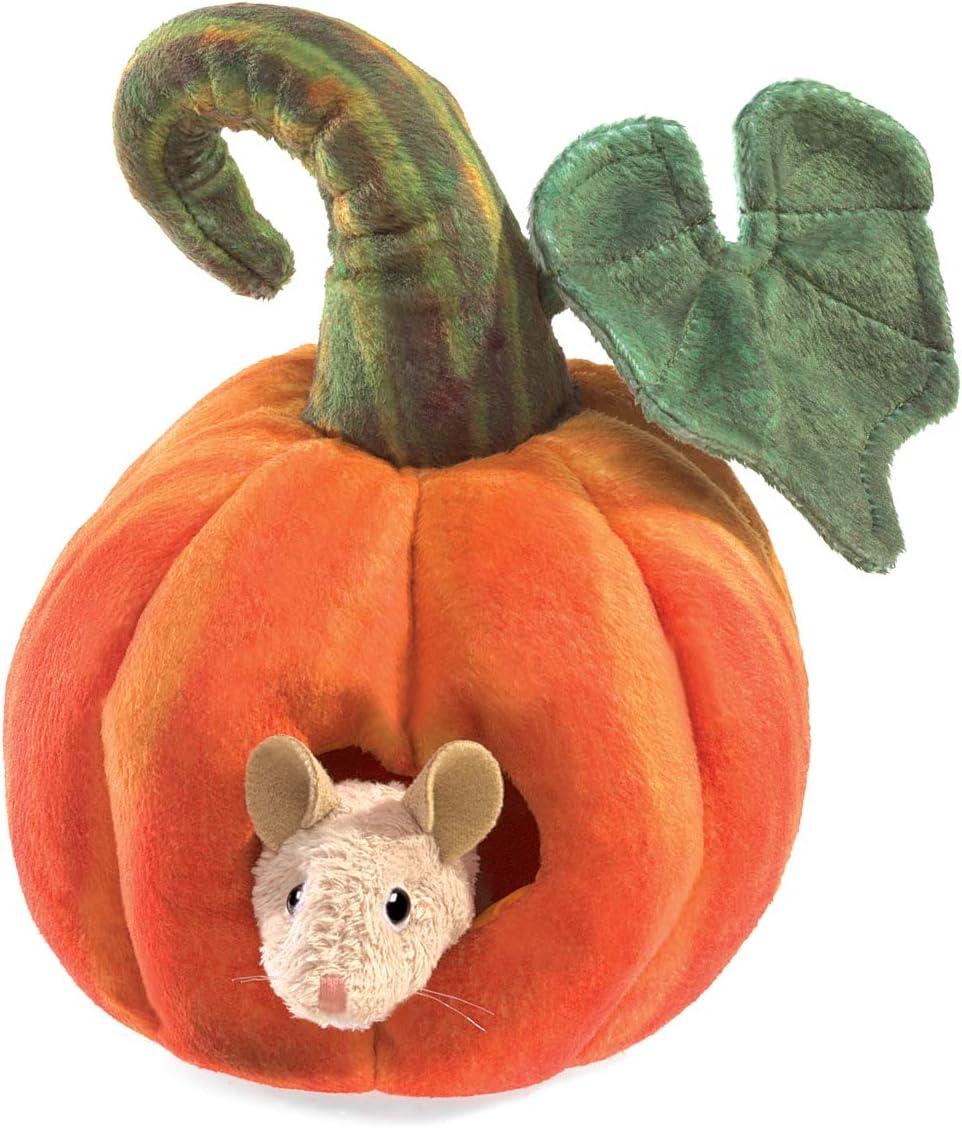 Folkmanis Mouse in Pumpkin Finger Puppet, Orange, Green, Pink (3118)