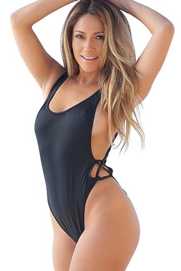 830f2e51e0c Women s Los Angeles High Cut One Piece Scrunch Bun Swimsuit at Amazon  Women s Clothing store
