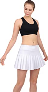Womens Tennis Pleated Skorts Golf Workout High Waist Biult in Skirts Sports Active Wear with Pockets White
