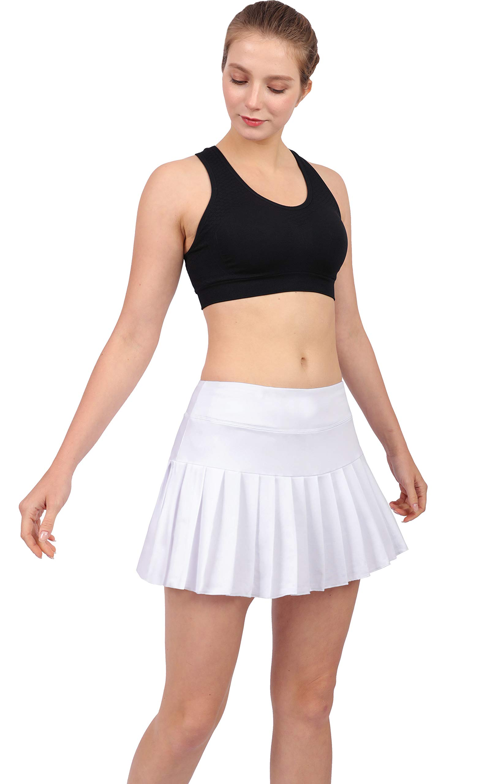 Womens Tennis Pleated Skorts Golf Workout High Waist Biult in Skirts Sports Active Wear with Pockets White by HonourSex