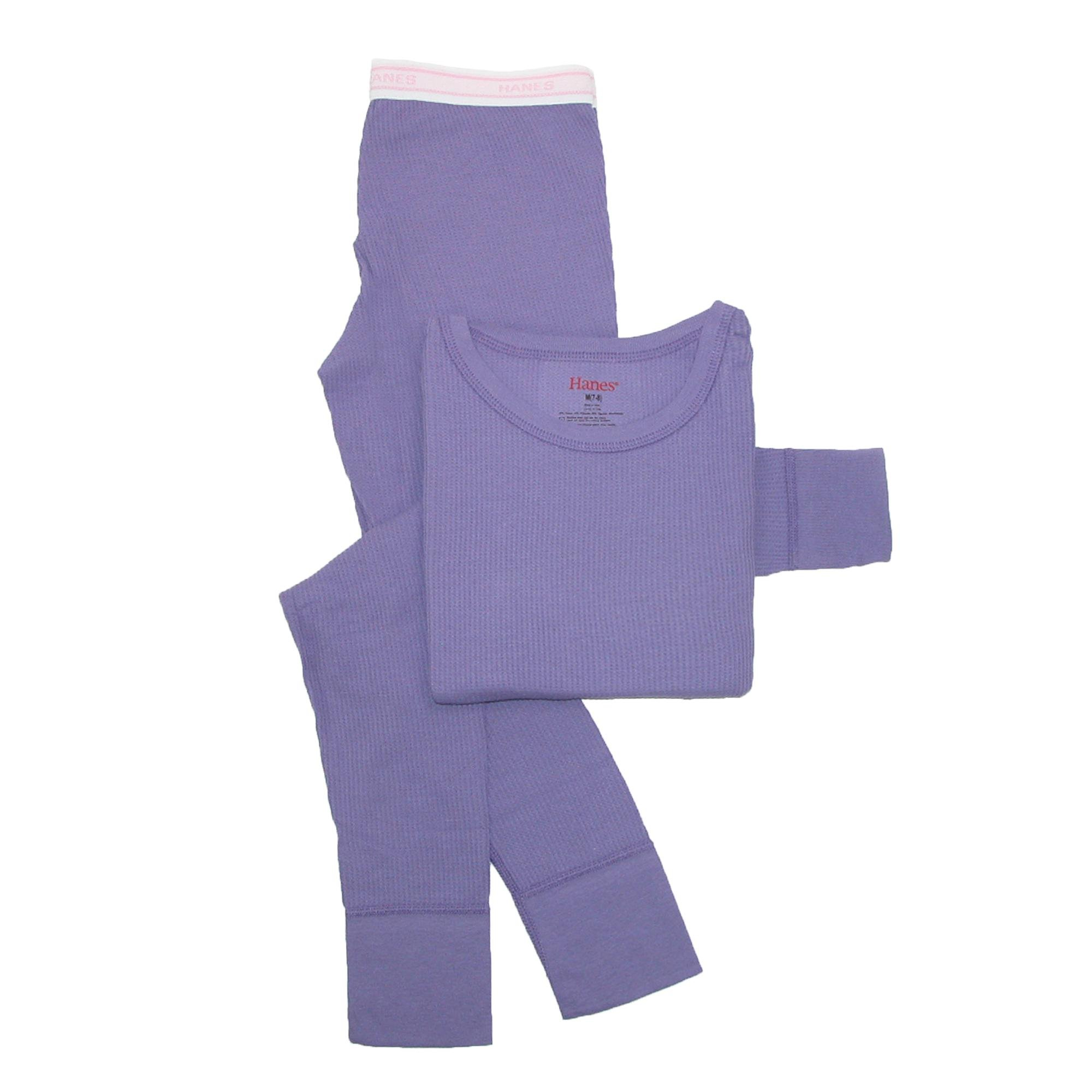 Hanes Little Girls' Thermal Underwear Set, Purple, Small/6-6X