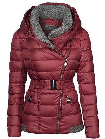 Chaqueta de invierno con cuello alto de punto, para mujer, con capucha