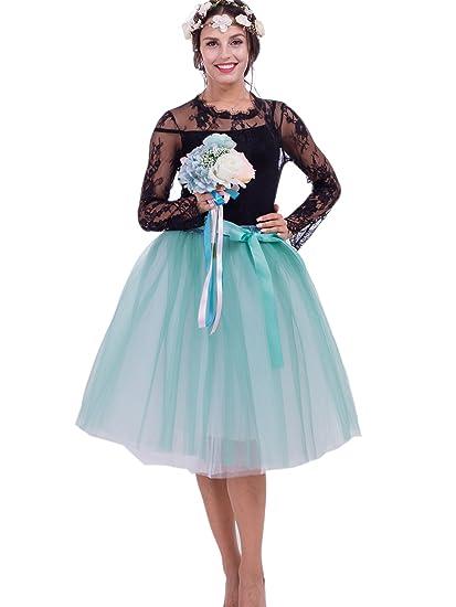 FOLOBE Mujer Multicolor 7 Capas de Falda de Tul Doble de Color ...
