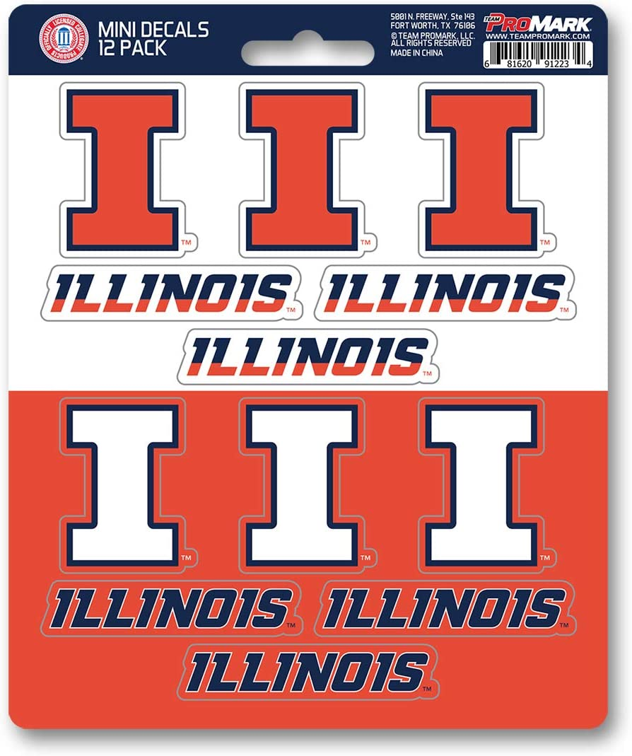 FANMATS University of Illinois 12 Count Mini Decal Pack