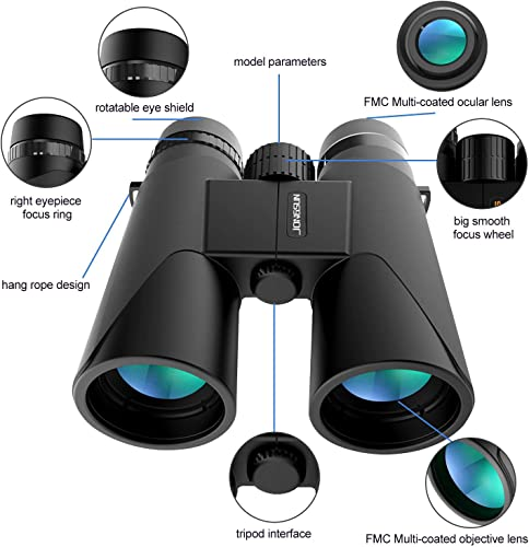 JONGSUN 10×42 HD Compact Binoculars for Adults, Zoom Clear Weak Light Night Vision Binoculars for Bird Watching, Travel, Hunting, Birding – BAK4 Prism FMC Lens with Strap Carrying Bag