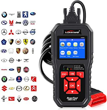 Konnwei KW850 Car Diagnostic OBDII Scanner Code Reader OBDII Anto Scanner Check Engine Light Scan Tool for All OBD II Cars Since1996 Red
