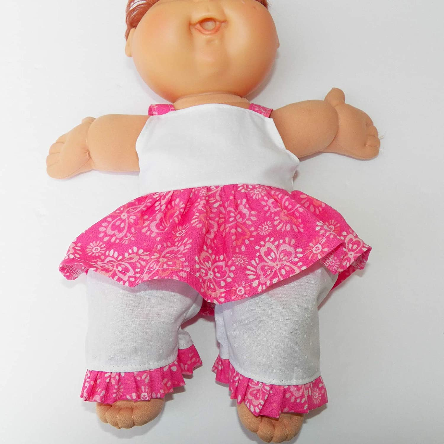 Cabbage Patch Doll Clothes Fits 14 Inch Girl Preemie Includes One White and Pink Floral Dress and Ruffled Pants No Doll