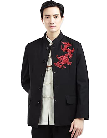 3a197f2d996 Shanghai Story Red Dragon Embroidery Men's Kung Fu Jacket Chinese Tunic  Suit M