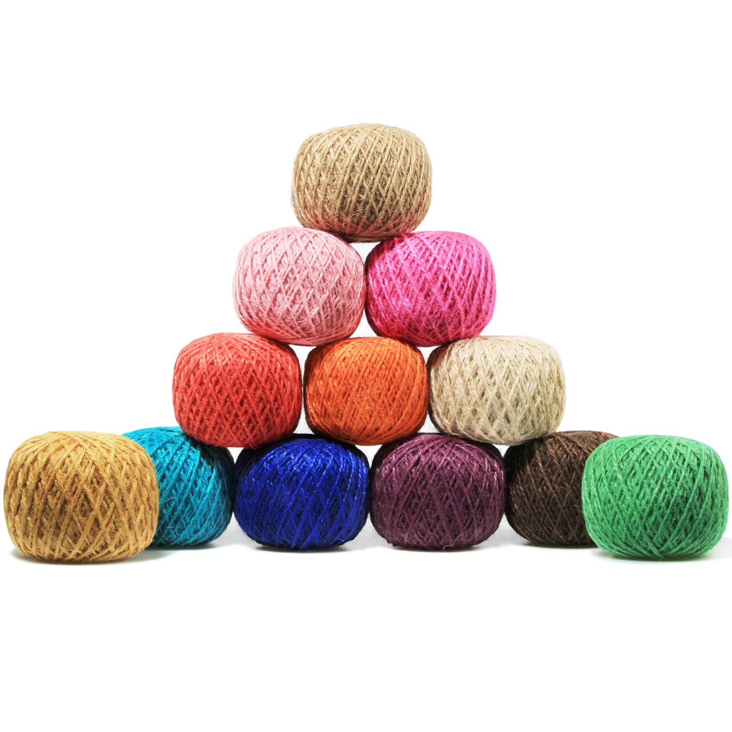 Digiroot 12 Packs Natural Jute Twine Perfect for Gift Packaging, Gardening Applications, Arts and Crafts project and home decorations - Pack of 12rolls , 328ft/roll