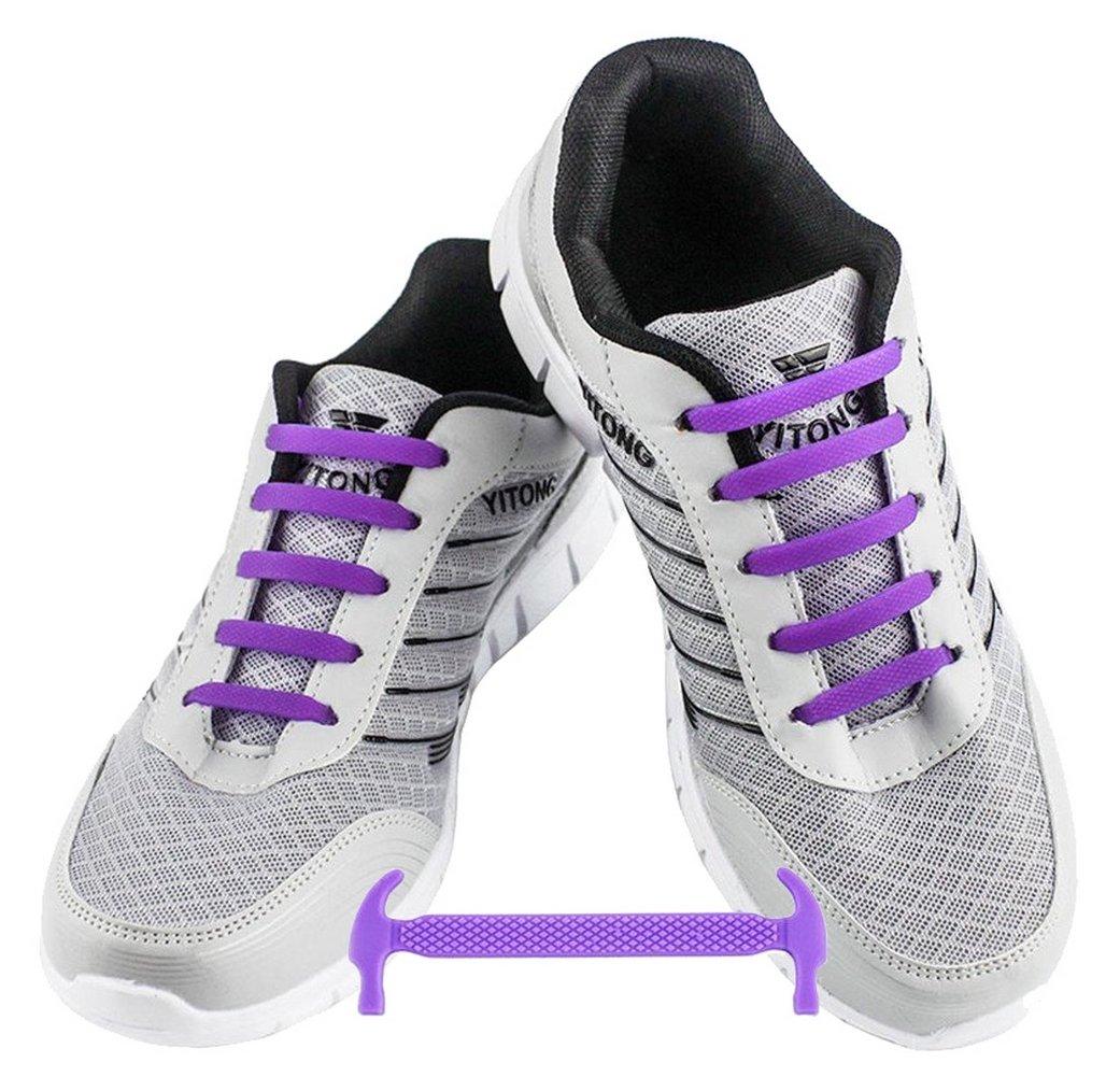 WELKOO® Cordones elásticos de silicona sin nudo impermeables para calzado de adulto e infantil - 16 & 12 pzas. Distintos colores disponibles. Talla ADULTO amarillo
