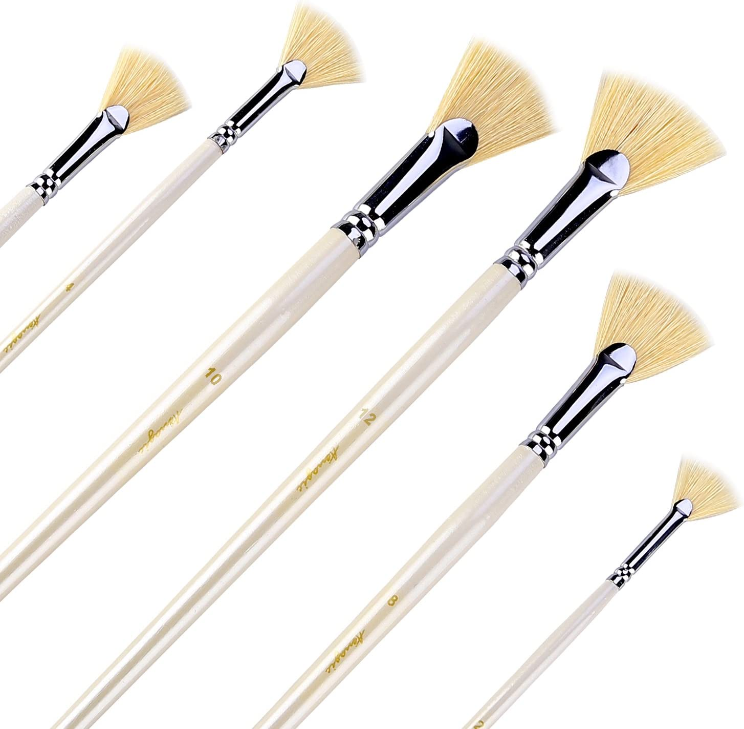Amazon.com: Amagic Fan Brush Set - Hog Bristle Natural Hair - Artist Soft  Anti-Shedding Paint Brushes for Acrylic Watercolor Oil Painting, Long Wood  Handle with Case, Set of 6