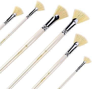 Amagic Artist Soft Anti-Shedding Hog Bristle Paint Brush Set for Acrylic Watercolor Oil Painting 6 Pcs Fan Brushes