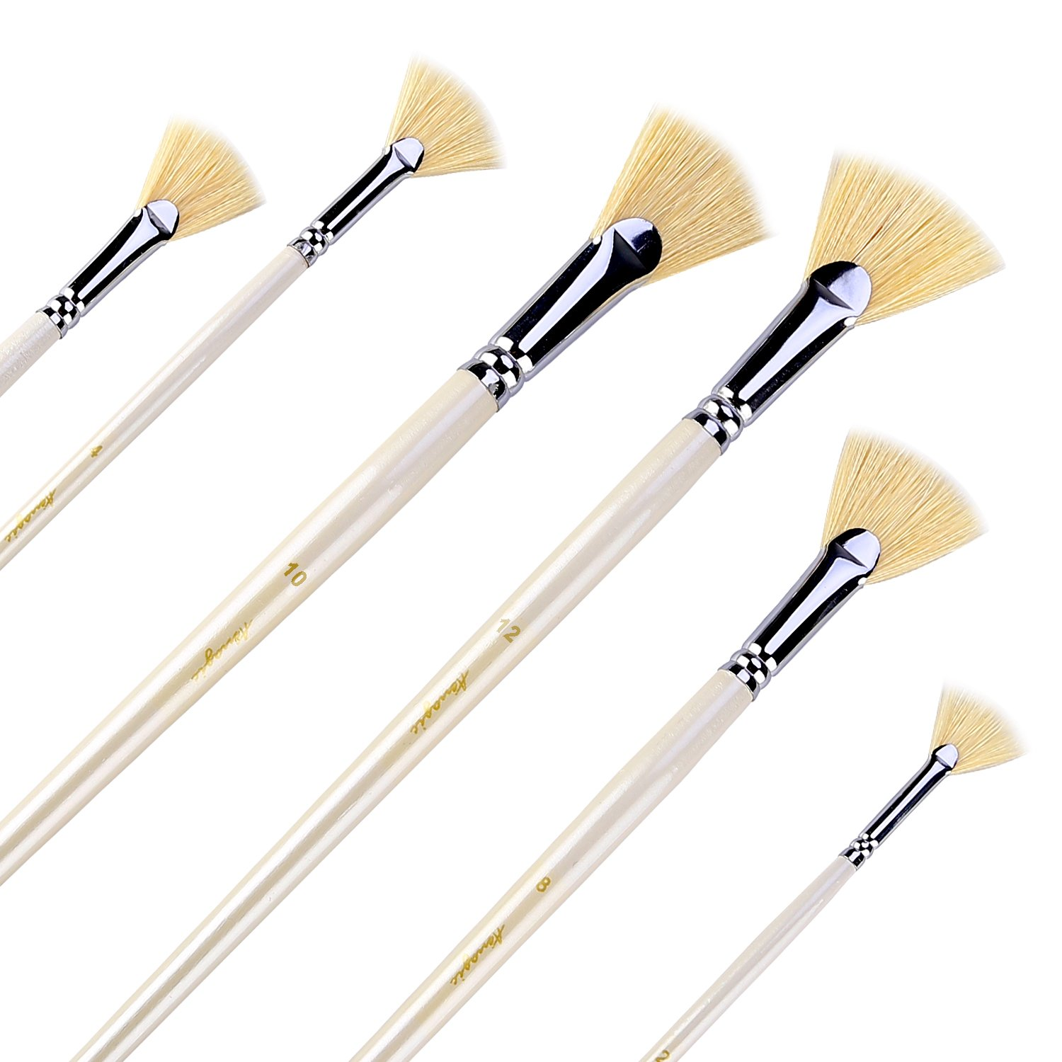 Fan Brushes - Amagic Artist Soft Anti-Shedding Hog Bristle Paint Brush Set for Acrylic Watercolor Oil Painting (6 Pcs)