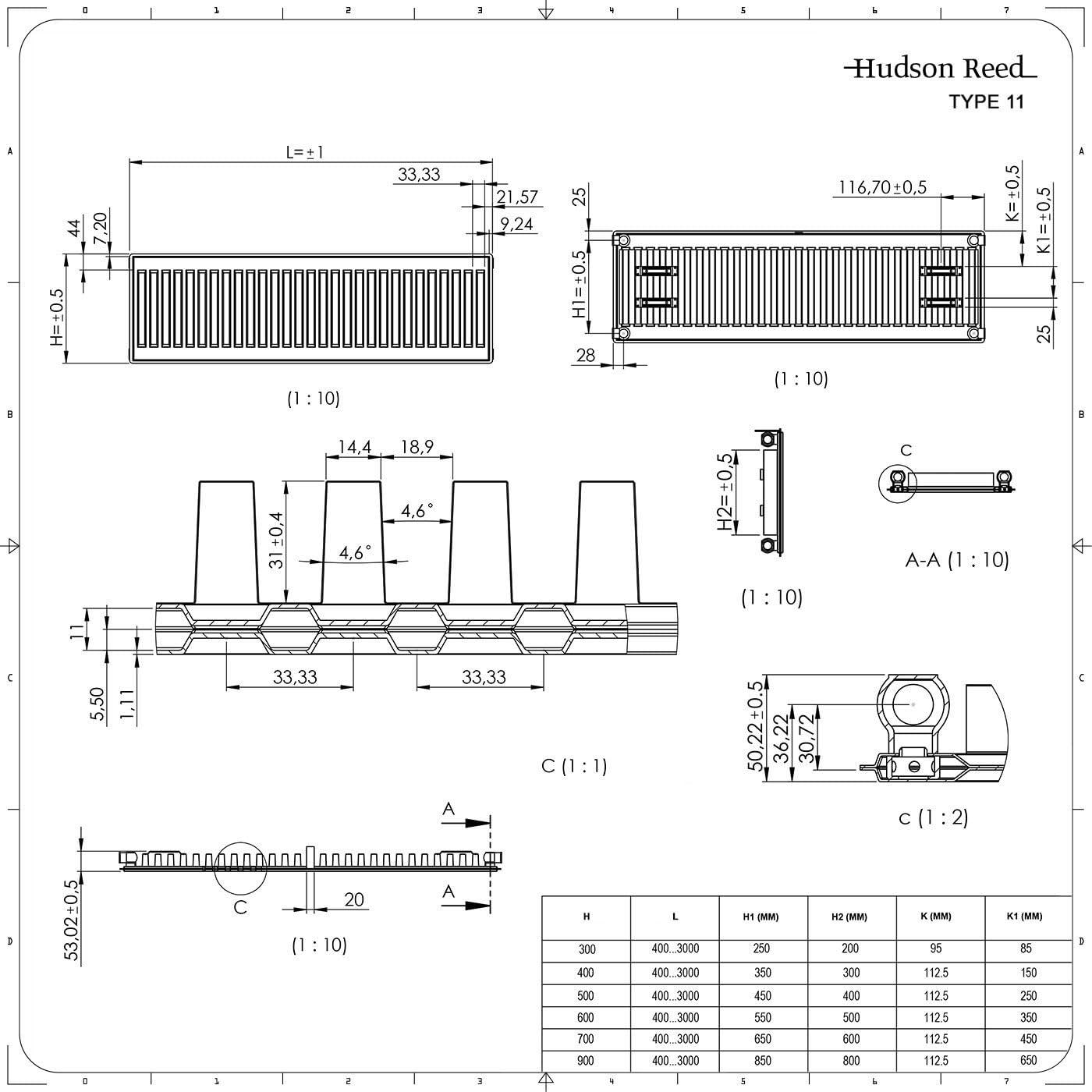 Type 11 Hudson Reed Eco Radiateur Horizontal /À Panneaux 30 x 40cm Blanc