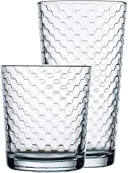 Juice 12pc Circleware 40148 Paragon Honeycomb 12 piece Glassware Set Highball Drinking Glasses /& Whiskey Cups Beverage Tumbler for Water Beer Ice Tea Bar 6-15.75 oz /& 6-12.5 oz