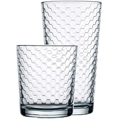 Circleware 40148 Paragon Honeycomb 12 piece Glassware Set Highball Drinking Glasses & Whiskey Cups, Beverage Tumbler for Water, Beer, Juice, Ice Tea Bar, 6-15.75 oz & 6-12.5 oz, 12pc