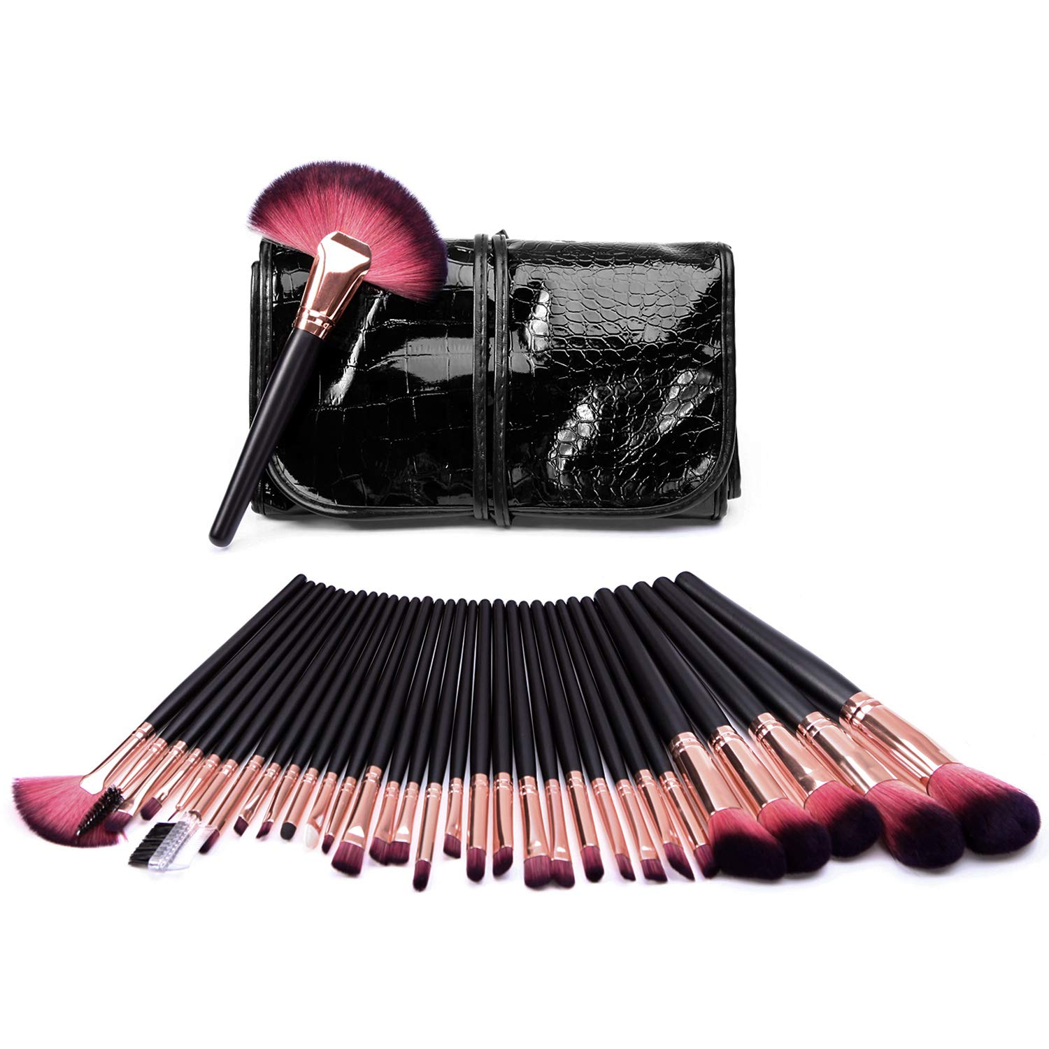 Lisli 32pcs Professional Makeup Brushes Set Essential Cosmetics with Bag for Powder Foundation Blending Blush Concealer Eyeshadow Eyeliner Lip