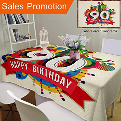 Unique Design Cotton And Linen Blend Tablecloth 90Th Birthday Decorations Funky Pop Geometrical Fun Celebration Cute