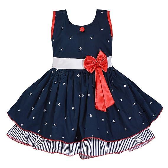 ab354cd444a30 Wish Karo Baby Girls Navy Blue Color Cotton Frock Dress - (ctn054nb 0-3