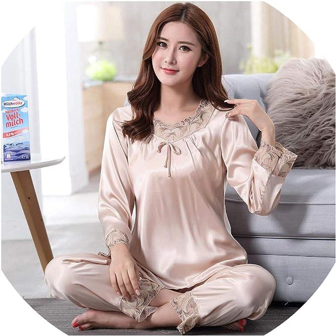 Pijama de Seda sintética XXXL para Mujer, Ropa de Dormir, Informal, Camisa, Pantalones, Ropa para el hogar - Beige - XXXL: Amazon.es: Ropa y accesorios