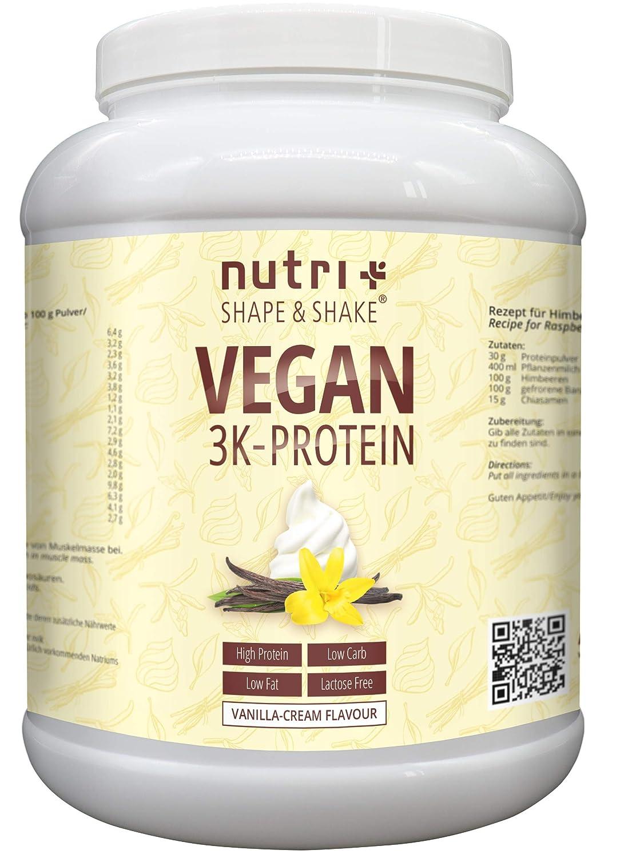 Protein Vegan Vanille 1kg | 84,6% Eiweiß | 3k-Proteinpulver | Nutri-Plus Shape & Shake