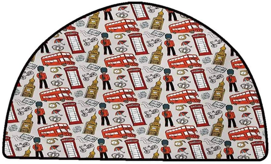 Kitchen Room Floor Mat Rug Colorful London,Doodle English Icons Crown London Cab Telephone Booth Watch Big Ben Umbrella Bicycle,Multicolor,W30 x L18 Half Round Small Rugs