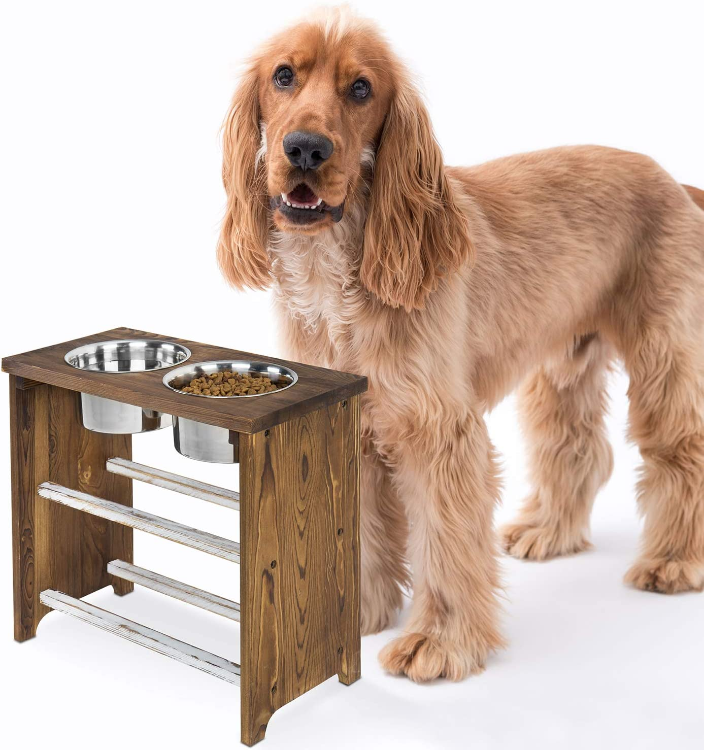 MyGift 15 Inch Tall Dark Brown Burnt Wood Large Pet Dog Raised Feeder Stand with 2 Stainless Steel Bowls