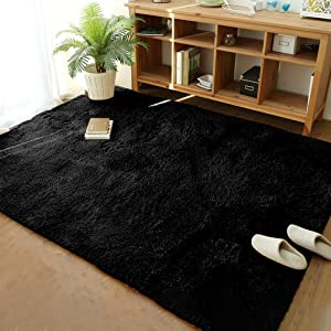 Soft Modern Shaggy Fur Area Rug for Bedroom Livingroom Decorative Floor Carpet, Non-slip Large Plush Fluffy Comfy Warm Furry Fur Rugs for Boys Girls Nursery Accent Rugs 5x8 Feet, Black