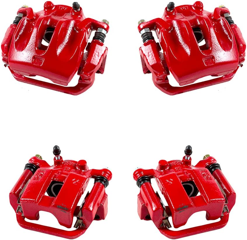 FRONT Performance Grade Red Powder Coated Semi-Loaded Remanufactured Caliper Assembly Pair Set 2 CCK01548