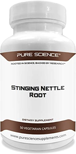 Pure Science Stinging Nettle Root Extract 500mg Standardized Nettle Root Extract at 1 Silica 200mg Nettle Root Powder – 50 Vegetarian Capsules