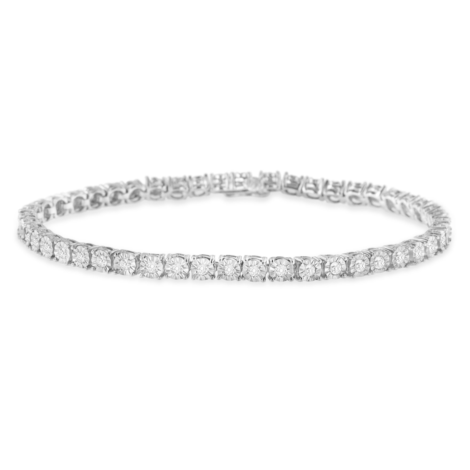 Sterling Silver Rose-Cut Diamond Miracle Tennis Bracelet (1.00 cttw, I-J Color, I3 Clarity)