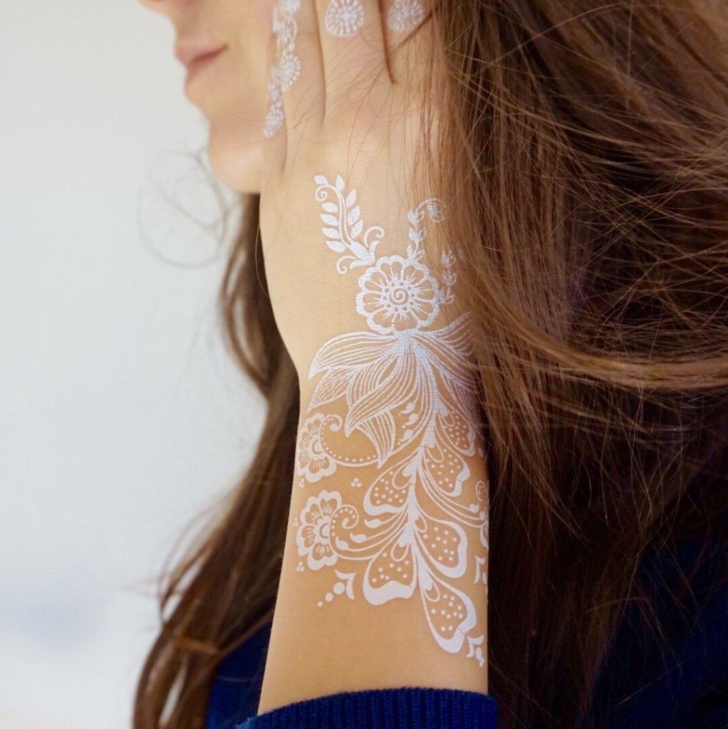 2 x Flash Tattoos WEISS Doppelset W301+335 für Arm Hand Finger Henna ...