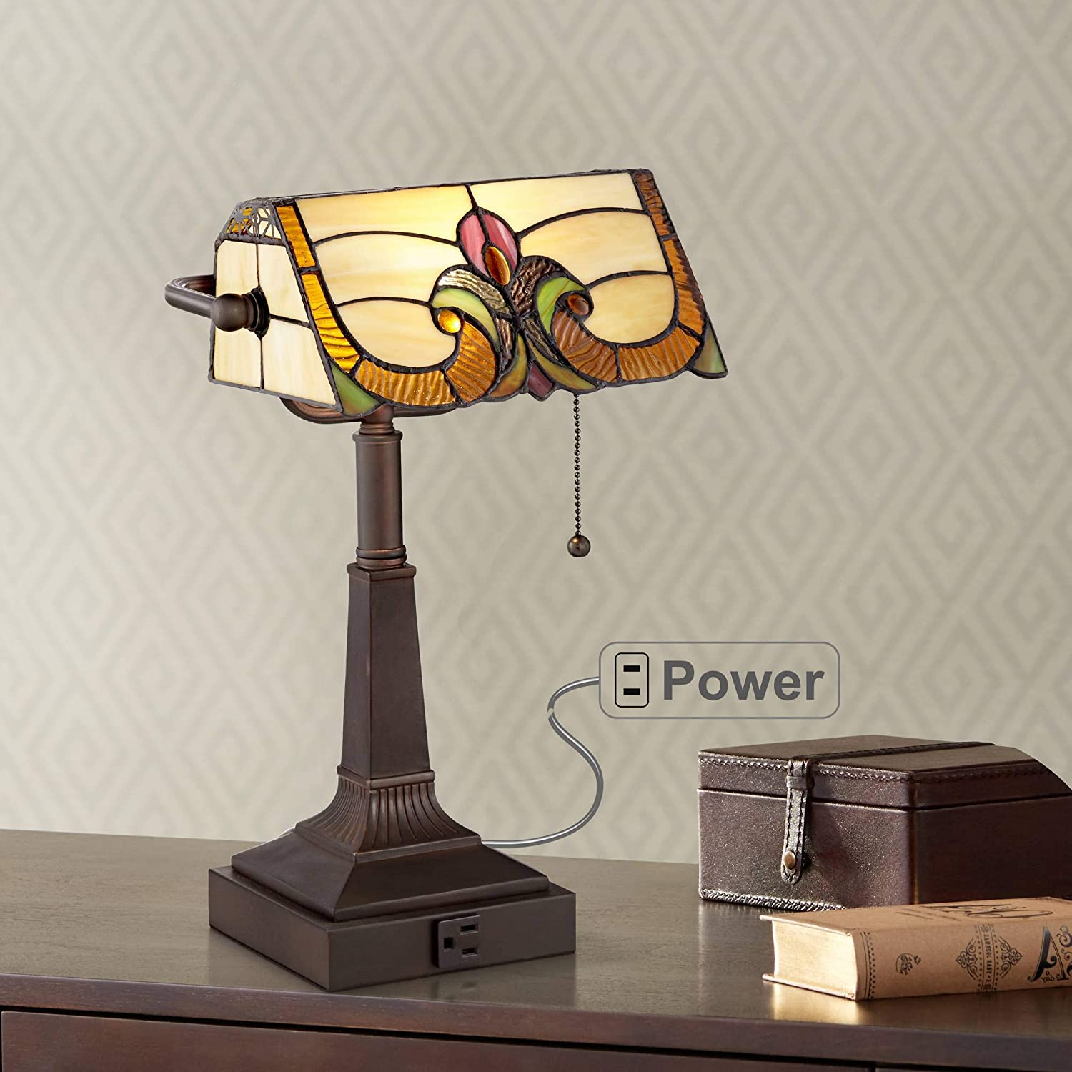 """Fleura Traditional Piano Banker Desk Table Lamp 17"""" High with AC Power Outlet Bronze Tiffany Style Floral Art Glass Shade for Bedroom Bedside Nightstand Office - Robert Louis Tiffany"""