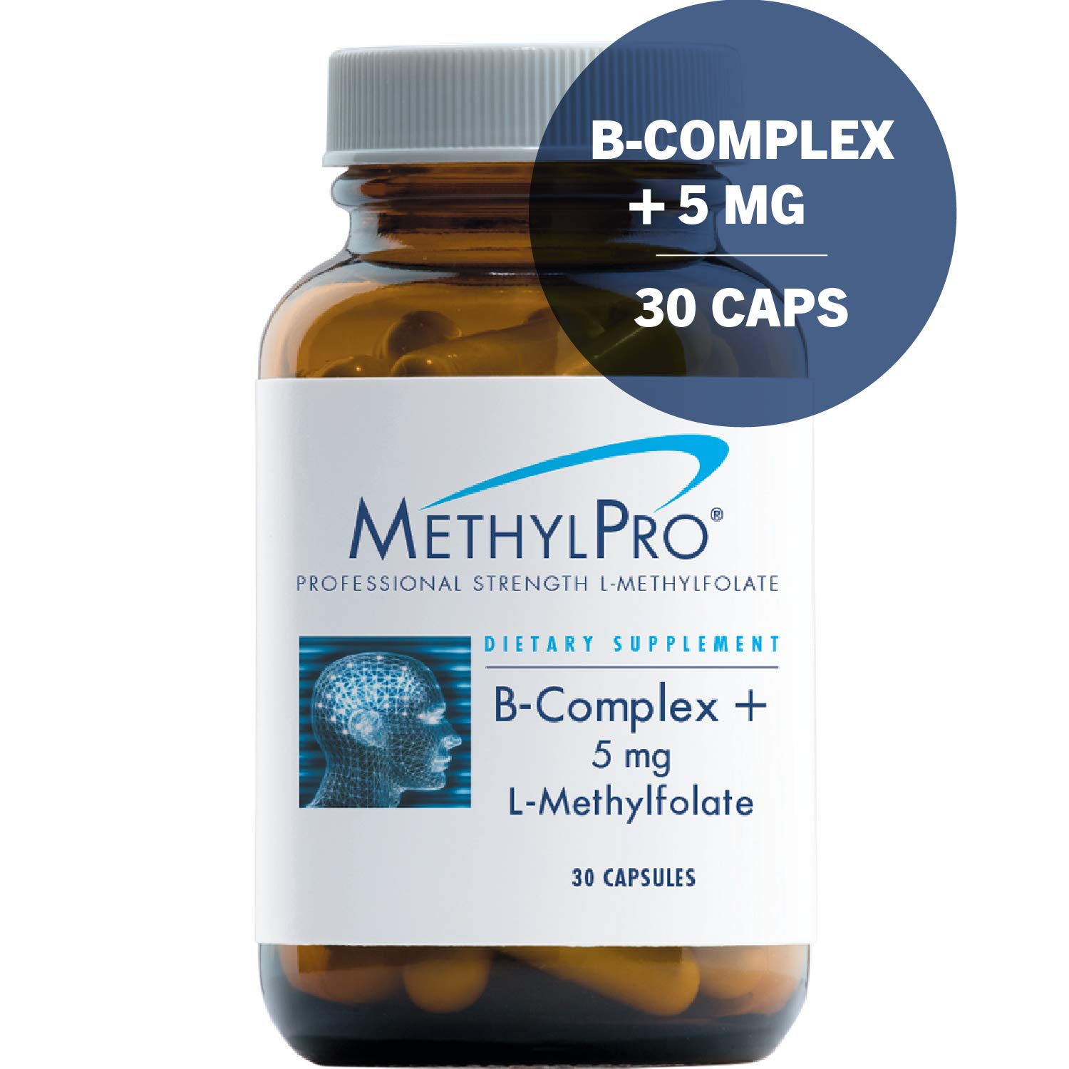MethylPro B-Complex + 5mg L-Methylfolate 30 Capsules - Professional Strength Active Folate for Energy + Mood Support with Methyl B12 + B6 as P-5-P, Non-GMO + Gluten-Free by MethylPro