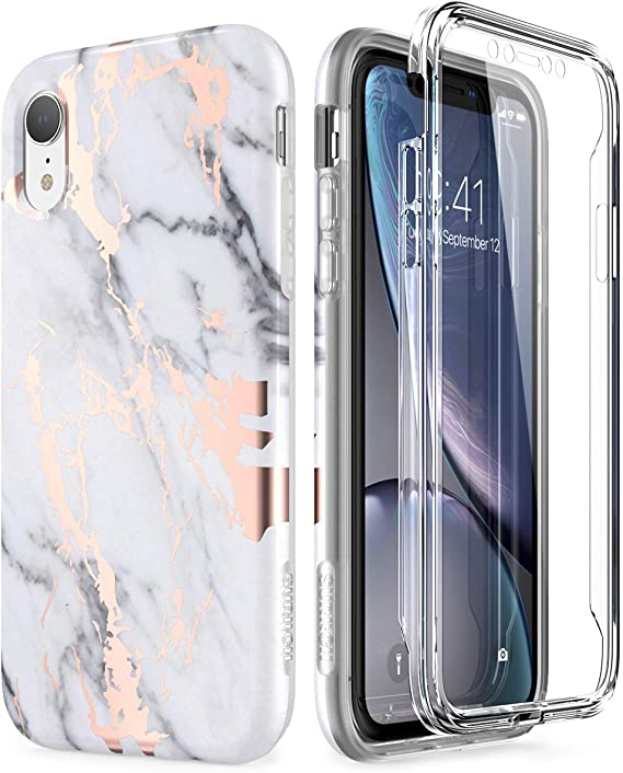 SURITCH Case for iPhone XR, [Built in Screen Protector] Gold Marble Full Body Protection Shockproof Rugged Bumper Protective Cover for iPhone XR 6.1