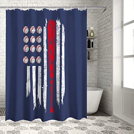 Amazon Com Z L Home American Flag Baseball Shower Curtains For Bathroom Decor Usa Flag And Sport Polyester Fabric Waterproof Bath Curtain Set With Hooks 72 84inch Home Kitchen
