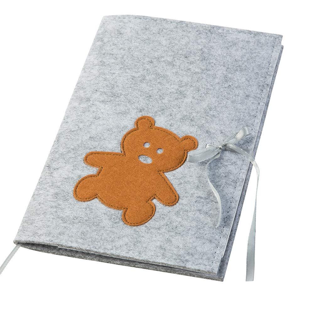 Uheft H/ülle Teddy aus Filz zum Binden dunkelblau//hellgrau | 2in1: U-Heft H/ülle und Impfpass H/ülle Farbe w/ählbar