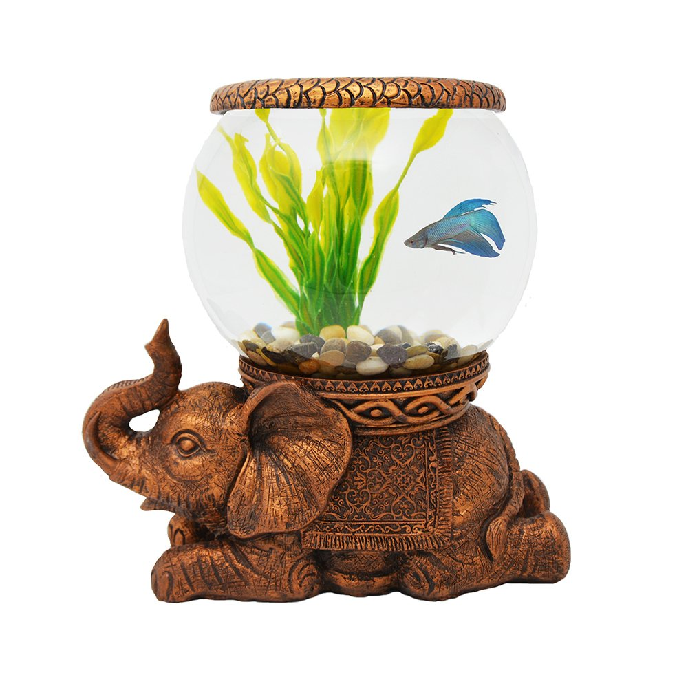 The Nifty Nook Exclusive Design New Good Luck Decorative Gold Antiqued Elephant Glass Fish Bowl Tabletop Aquarium or Terrarium or Candle Holder,New 1 Gallon Size Fish Bowl with River Rocks by THE NIFTY NOOK