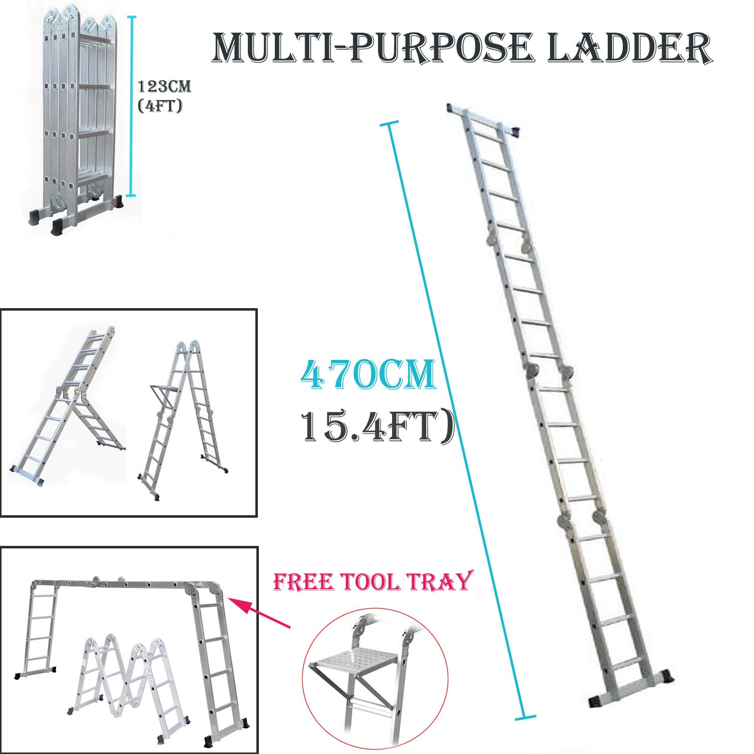 4.7m Aluminium Multi-Function Ladder 15.5ft Multi-Purpose Folding Ladder Extendable Step Ladder with 1 Tool Tray, 4x4 Steps, UK Stock AutoBaBa