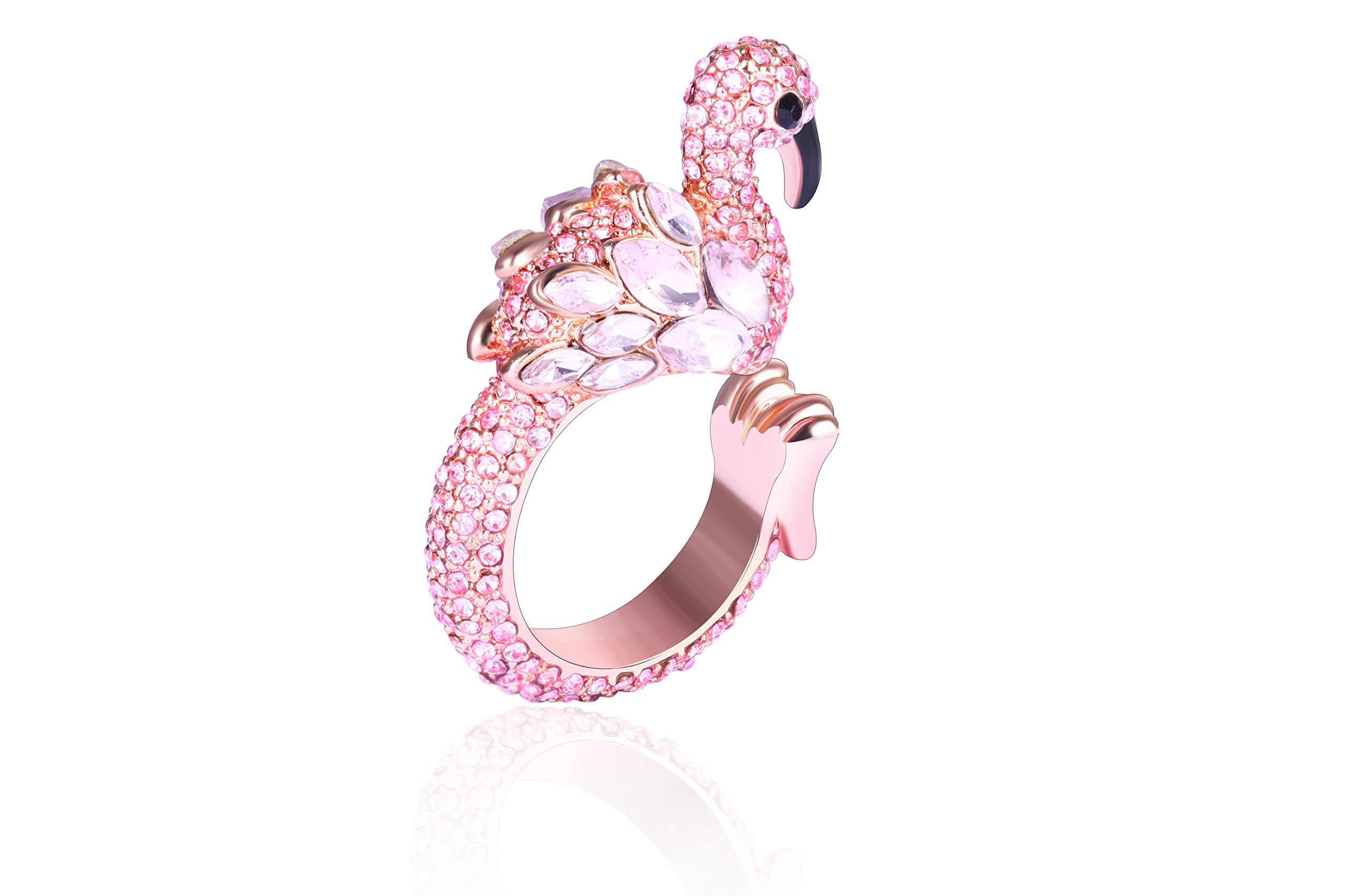 Animal Ring Cute Flamingo for Young Womens Gifts Mom Birthday Teens Girls Party Cuff Statement Ring (Pink) by Paitse (Image #2)