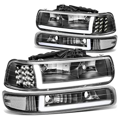 DNA Motoring HL-LB-CSIL99-BK-CL1 Pair LED DRL Headlight Bumper Lamps: Automotive