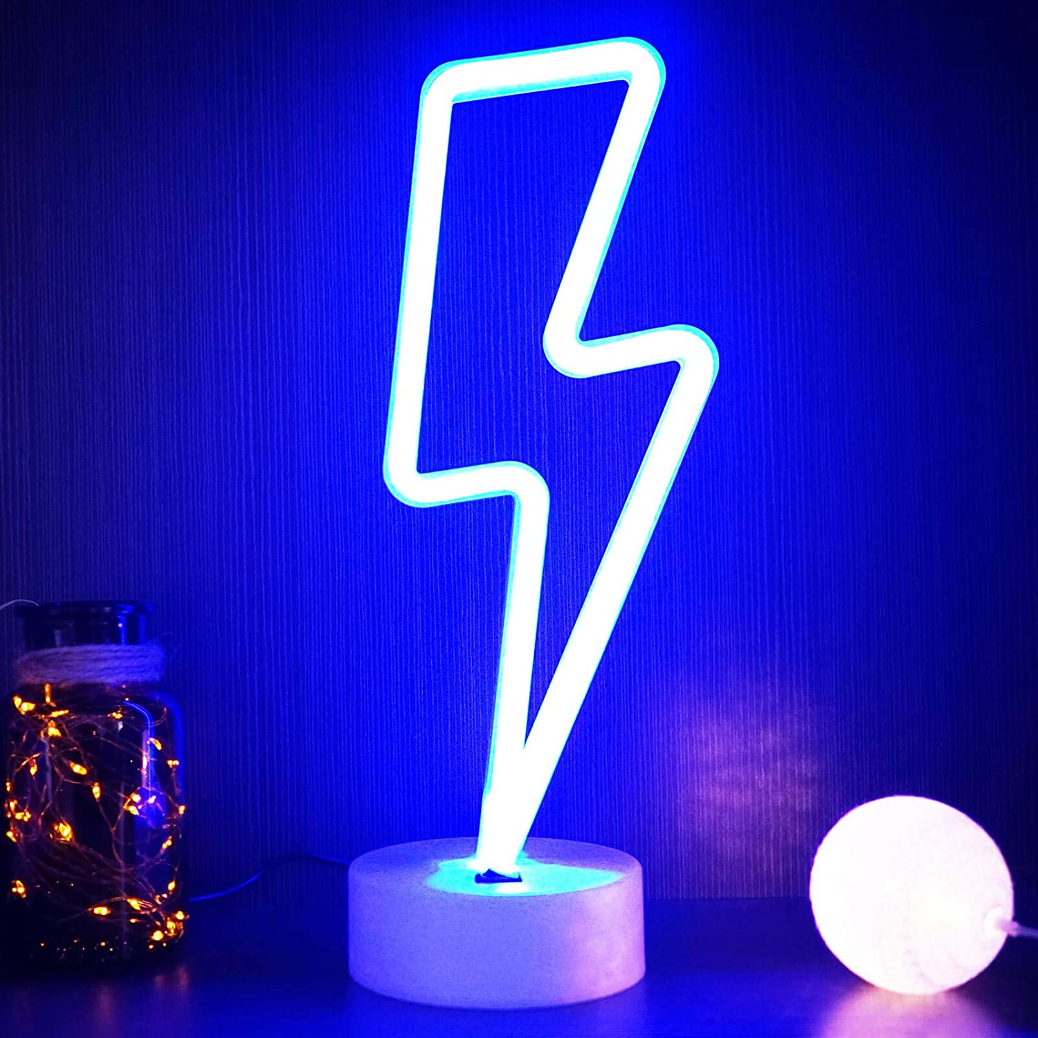 Yiviyar Lightning Bolt Neon Sign Usb Charging Battery Blue Neon Light Cool Things Kids Room Decor For Boys Bedroom Lighting Cool Lamps For Teens Bedroom Cool Gadgets Cool Room Decor Lightning Amazon Co Uk Lighting