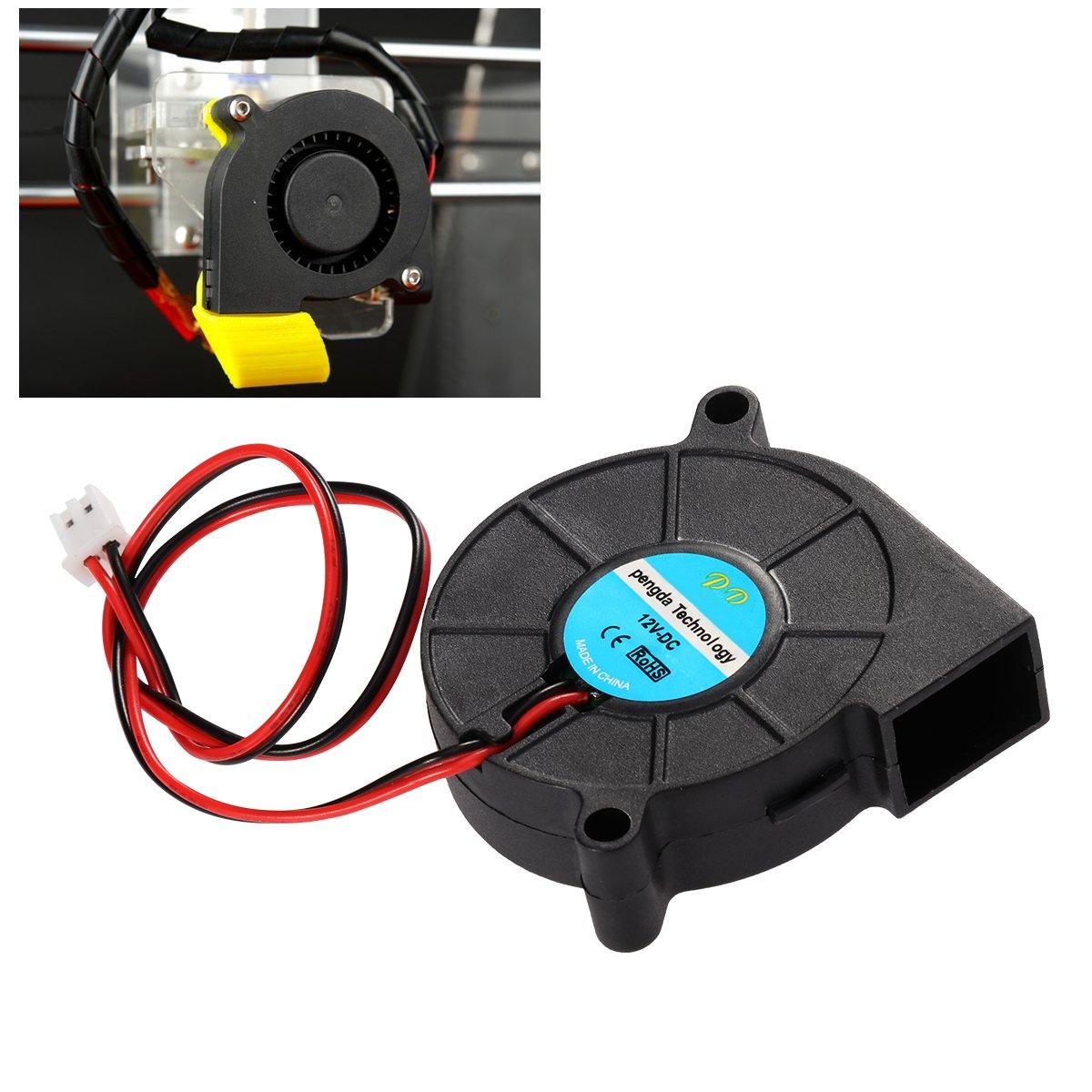 UEETEK Ventilatore DC 12V per stampante 3D,Ventola radiatore del ventilatore a turbina, eccellente per il dissipatore di calore raffreddamento a caldo, accessori per stampanti 3D,Nero