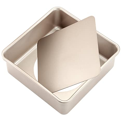 Molde cuadrado para tartas con base suelta, antiadherente de 21,8 x 21,