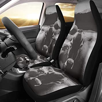 BlackWhite Brown Swiss Cattle Cow Print Car Seat Covers Universal
