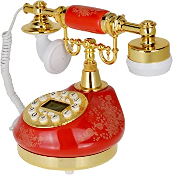 511 Red Retro Vintage Push Button Ceramic Antique Telephone Dial Desk Phone