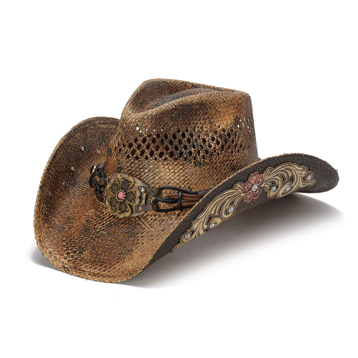 Stampede Hats Women's Glory Rider Flowers and Rhinestone Western Hat M Brown